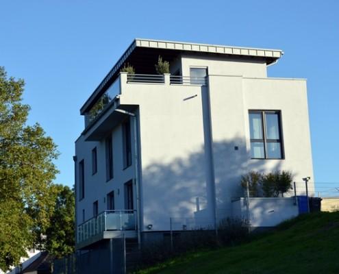 Einfamilienhaus, Bauen im Bestand, Ansicht aus dem Rheinpark, Wesseling